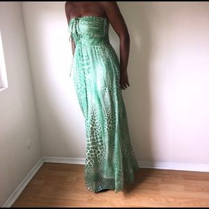Wild Side Leopard Print Strapless Gown Dress
